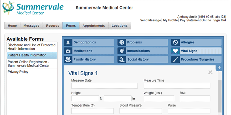 Example view of the patient portal with Henry Schein Secure Chart
