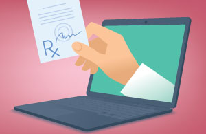 Electronic Prescribing for Small Practices: A hand reaching out of the computer with a prescription to illustrate a provider utilizing EPCS