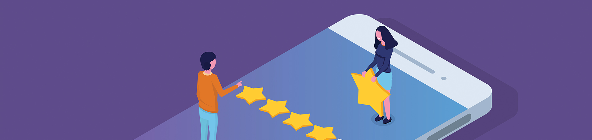 Illustration of individuals giving 5 stars to improve online reputation for a business