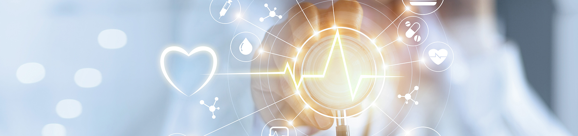 healthcare technology imagery with health symbols like an ambulance, heart, thermometer, and more.