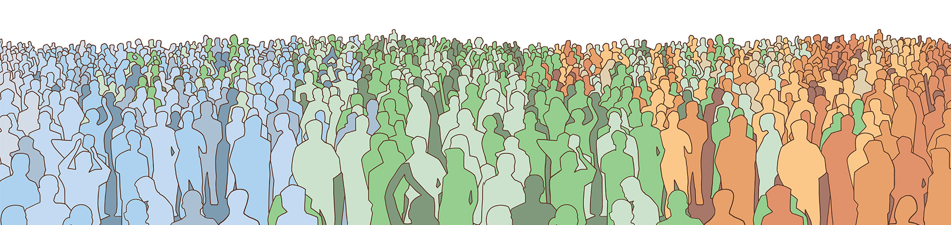 Population health signified by a large crowd of people.