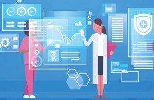 healthcare automation illustration of doctors using technology