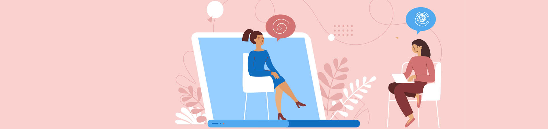 Telepsychiatry illustration between a patient and a provider