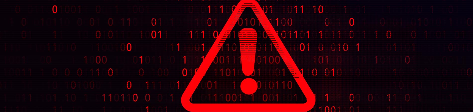 Warning symbol in red on a black and red background