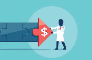An arrow with a money symbol and a doctor to symbolize optimizing revenue